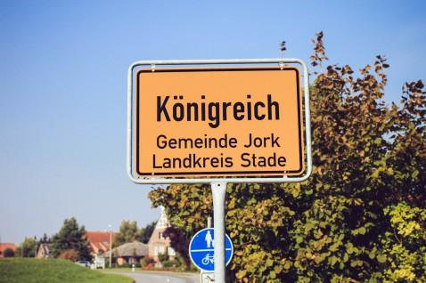 Ortsschild Königreich Altes Land Jork
