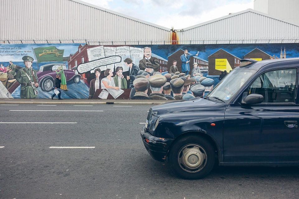 Belfast Black Cab Mural Peace Wall