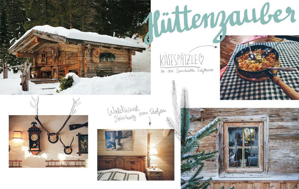 Winter in Österreich Hüttenzauber Käsespätzle Hütten