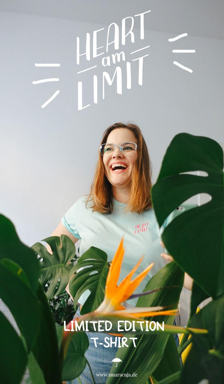 Limited Edition T-Shirt von Smaracuja und Asananas Yoga Club - Heart am Limit Lettering Design