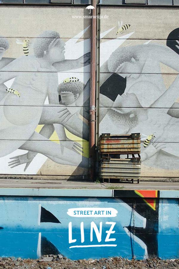 Der Street Art Guide für Linz: Mit dem Boot durch den Mural Harbor vorbei an Graffitis, Paste Ups und Murals von den Artists ROA, Fikos und Aryz!