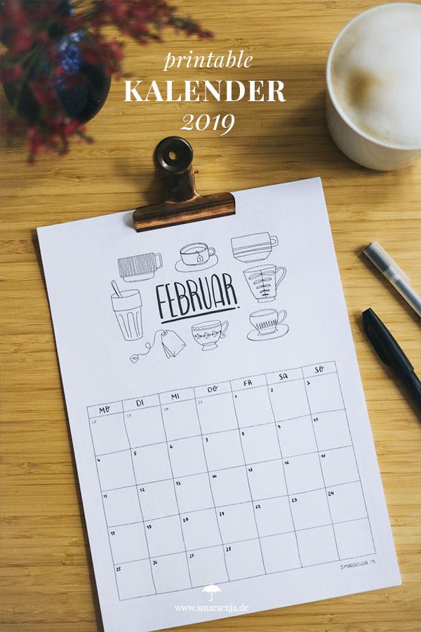 PRINTABLE: Doodle Kalender 2019 zum Download. 12 Monate zum selbst ausdrucken und planen mit hübschen Doodles für jeden Monat