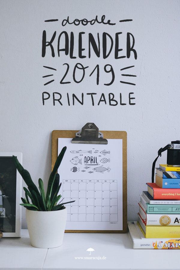 Monats - Kalender 2019 zum Download und selbst ausdrucken. Der Doodle Monatsplaner für das neue Jahr!