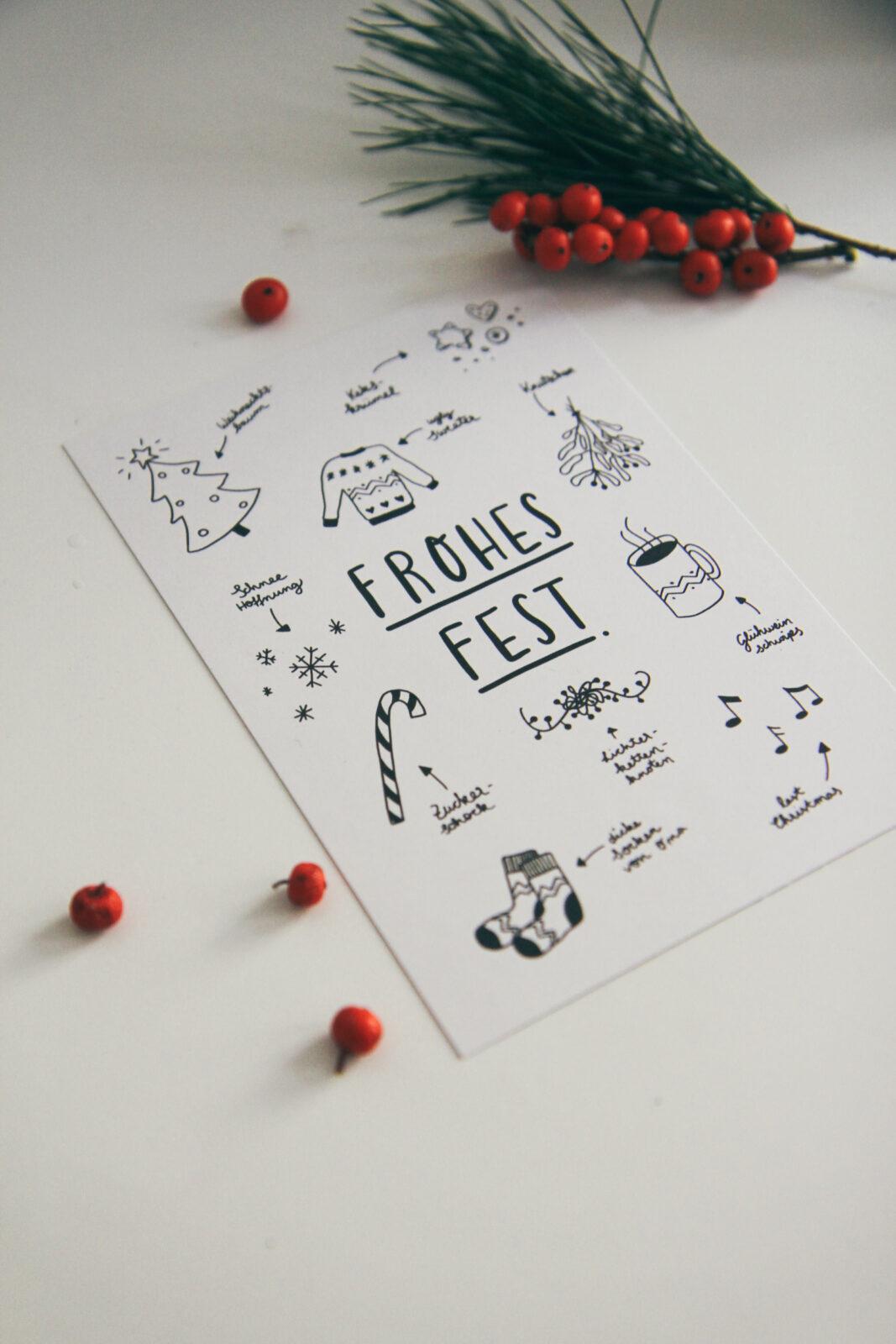 Weihnachtskarten Smaracuja Frohes fest Doodle Ugly Sweater Mistelzweig Glühwein Last Christmas